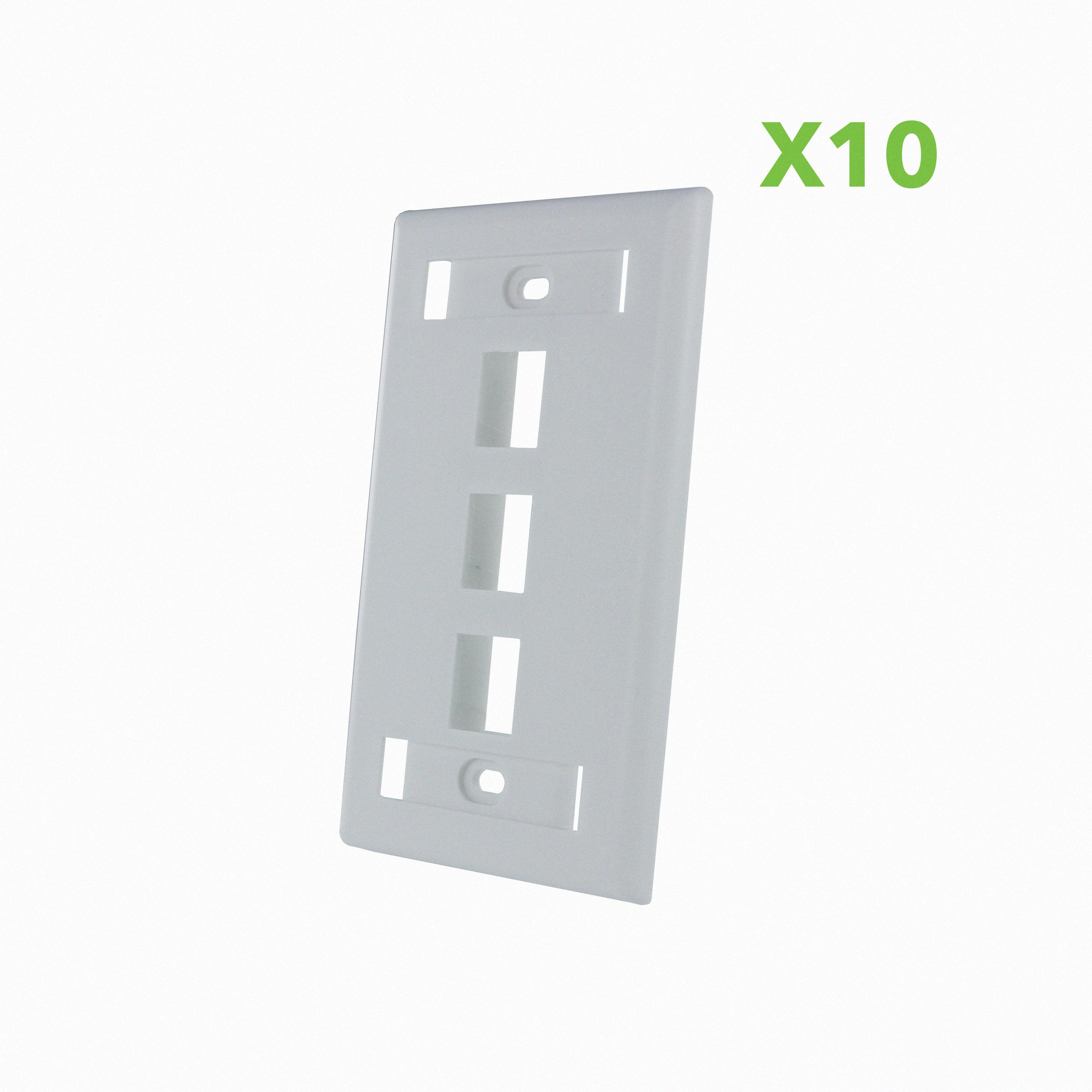 White 3 Port Decora RJ45 Network Keystone Wall Plate Insert 10 Pack
