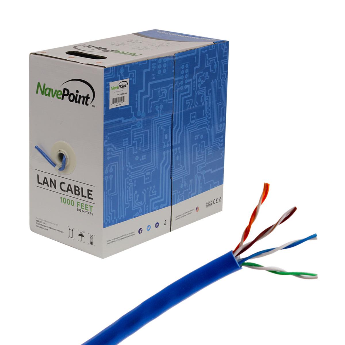 CAT5e 500FT UTP Cable Solid 24AWG Black Network Ethernet LAN Bulk Wire RJ45