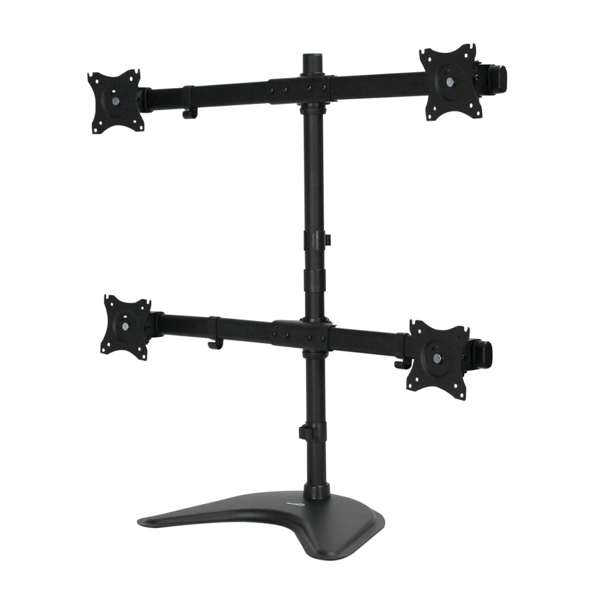 Quad LCD 4 Monitor Stand Desk Mount Adjustable Curved Free S